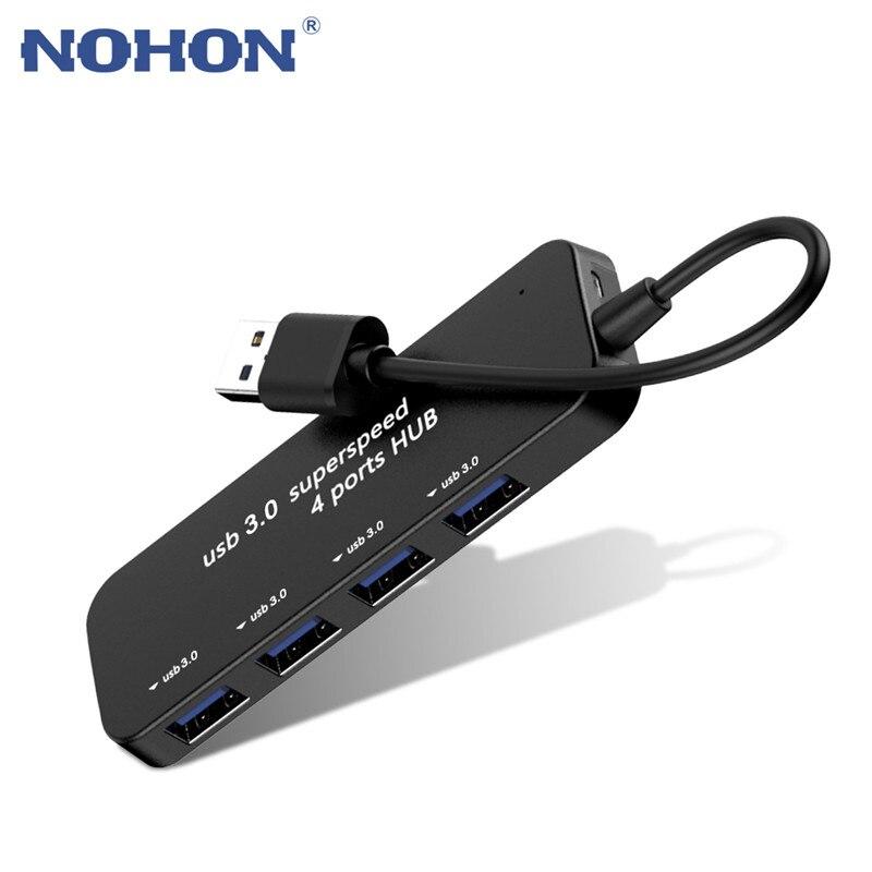 Nohon HUB USB 3,0 4 порта сверхскоростной сплиттер подключение для мыши u-диск клавиатура ПК компьютер планшет аксессуары несколько адаптеров
