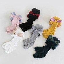 Детские носки для малышей милые хлопковые нескользящие носки с бантиком для девочек Мягкие Стандартные однотонные носки для малышей