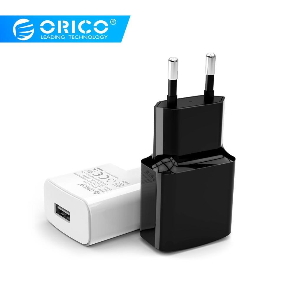 Orico viagem usb carregador 5v2a 5v1a ue plug mini carregador adaptador de carregador inteligente para tablet do telefone móvel WHA-1U