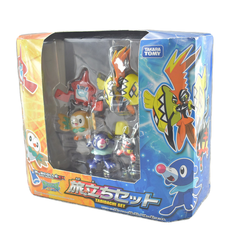 5pcs/set Pokemon Pikachu Figure Rowlet Popplio Litten Tapu Koko Pika Action Figure Toys For Children With Box
