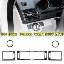 5pcs Front Dashboard Central Air Outlet Trim Sticker Carbon Fiber Black For Mercedes C-Class W204 Auto Cover Stickers