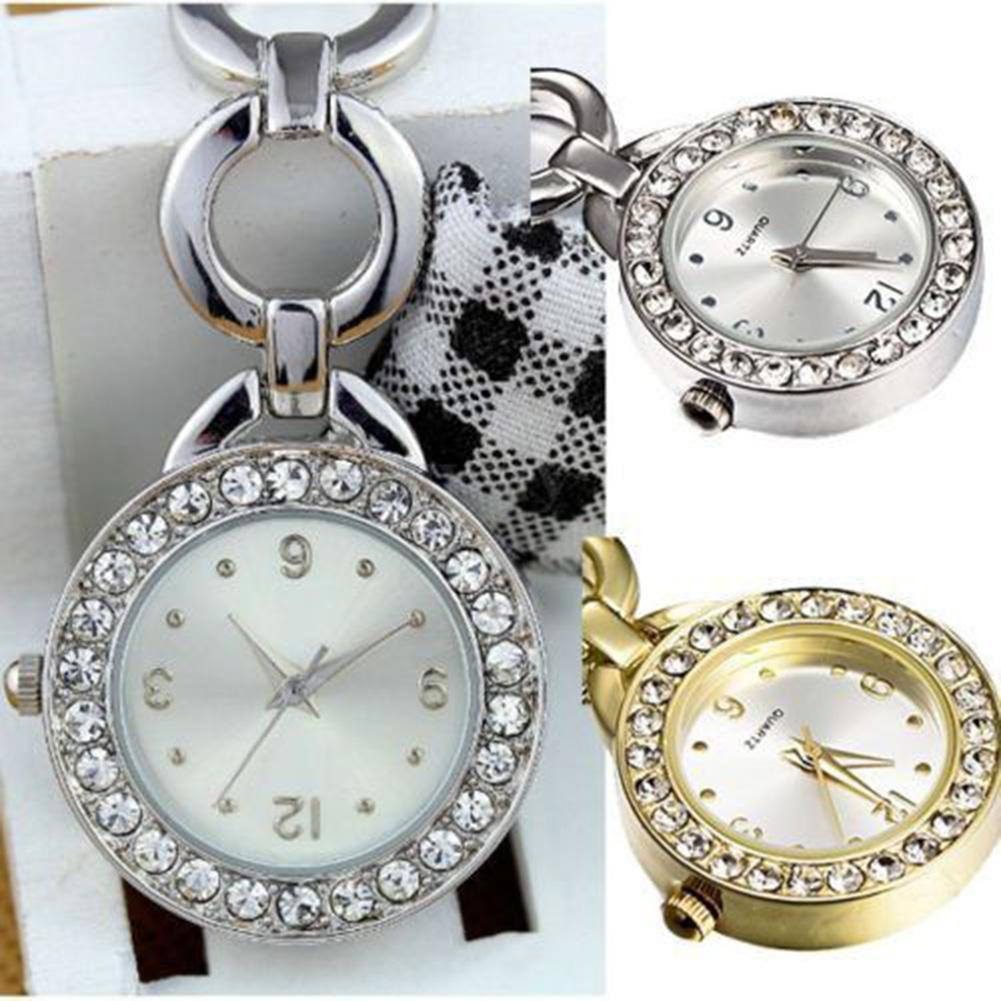 Luxury Nurse Watch Brooch Pin Quartz Fob Pocket Watch Rhinestone Round Dial