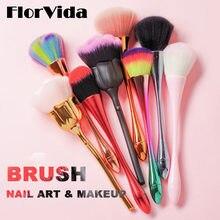 FlorVida – pinceaux à ongles colorés en forme de sirène Kolinsky, outils de nettoyage de maquillage pour la poussière de manucure, de haute qualité, Design Rose ABS, 1 pièce