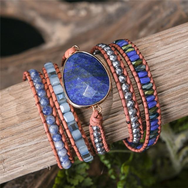 Lapis Lazuli Third Eye Chakra Bracelet wood