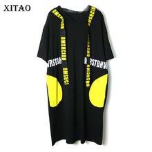 Xitao印刷文字プリーツドレスファッションプラスサイズのパターン 2020 春エレガントなメッシュパッチワーク小新鮮なカジュアルドレスXJ4418