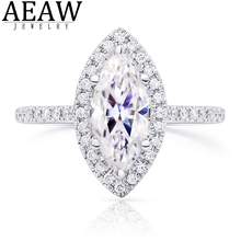 2.5carat 7x14mm Marquise Brilliant Cut Moissanite Engagement Ring DF Color VVS1 Solid 18K White Gold For Women Ring