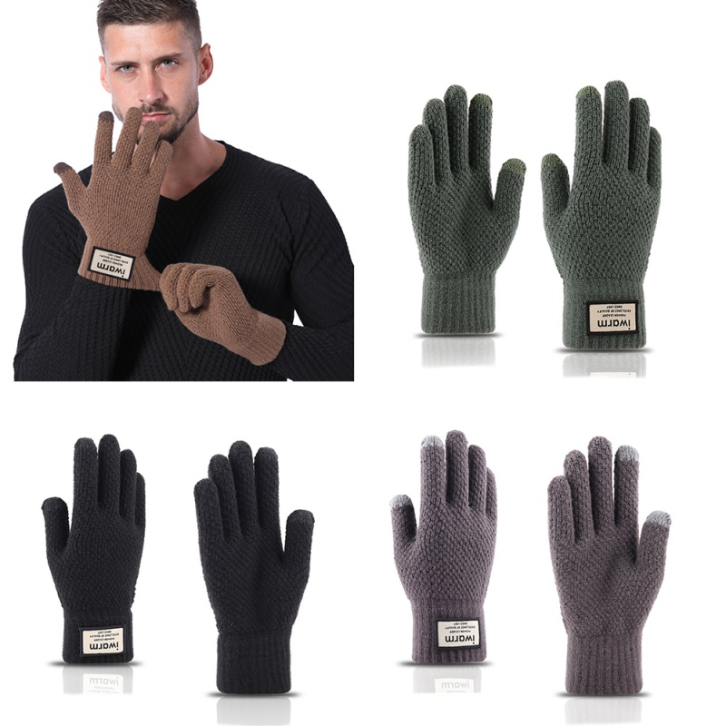 Winter Plus Velvet Thickening Outdoor Cold Warm Gloves Knit Touch Screen Wool Men's Gloves