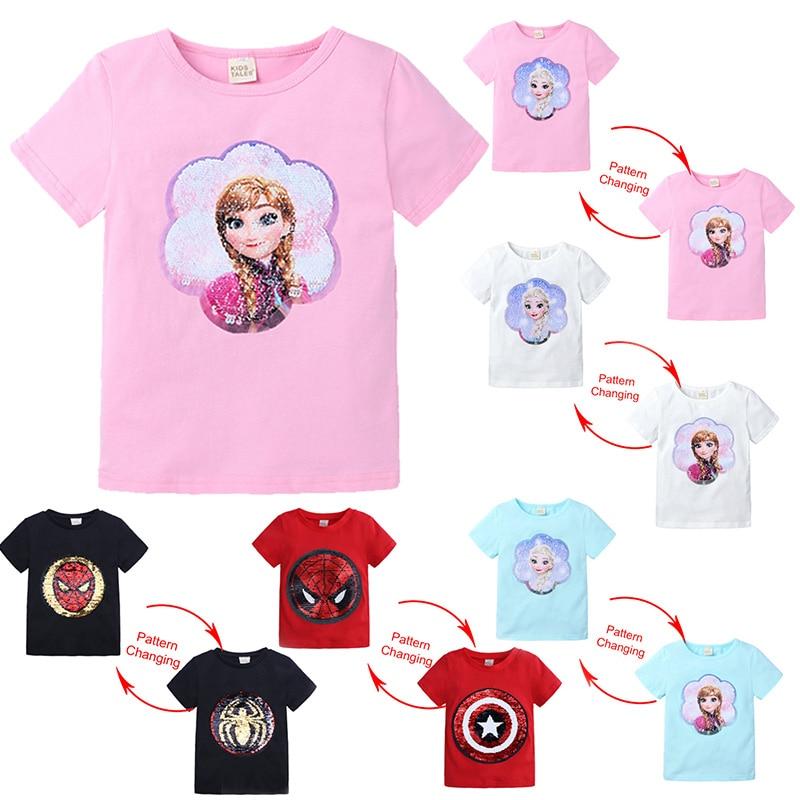 Kids Girls T Shirts Summer Elsa Sequins For Spiderman T Shirt Face Change Boys T Shirts New Children Tops Shirt Clothes 2-8Yrs
