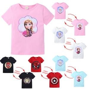 Kids Girls T shirts Summer Elsa Sequins For Spiderman T shirt Face Change Boys T Shirts New Children Tops Shirt Clothes 2-8Yrs(China)