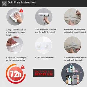 Image 5 - Edelstahl Bad Ecke Regal Dusche Shampoo Seife Kosmetische Regale Küche Zubehör Lagerung Organizer Rack Halter