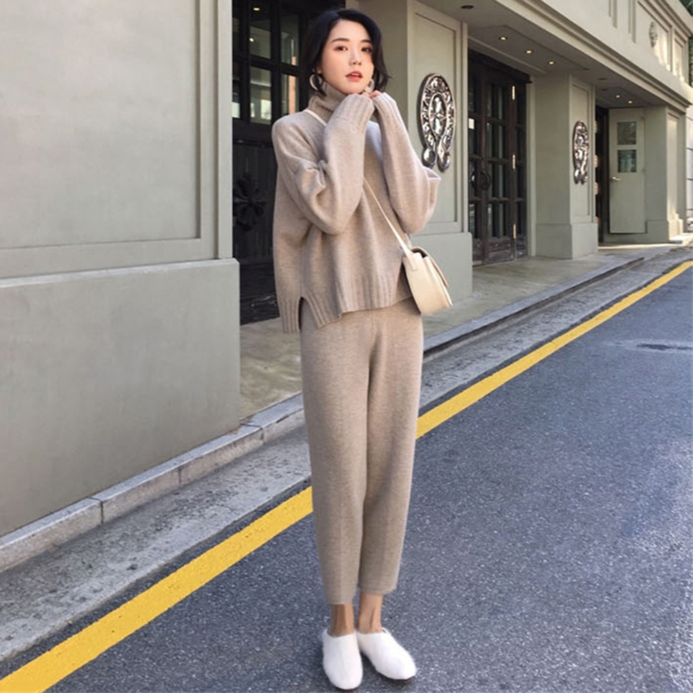Casual Sweat Suits Women Knitted Two Piece Set Women Turtleneck Pullovers & Pants Sweater Sets 2020 Spring Pink Outfit
