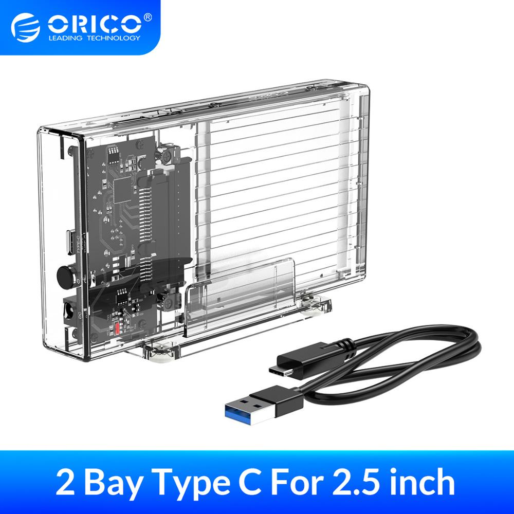 ORICO 2 Bay 2.5'' HDD Case SATA To USB C Transparent Hard Drive Enclosure Support UASP For 7-9.5 Mm HDD SSD With 5V Adapter