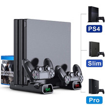 O transporte da gota ps4/ps4 pro/ps4 magro console suporte de refrigeração vertical controlador base de carregamento cooler 10 jogos armazenamento para sony