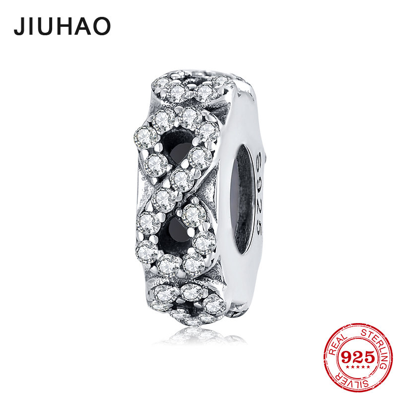 2018 Fashion 925 Sterling Silver Number 8 Clear CZ Stopper Spacer Beads Fit Original Pandora Charm Bracelet Jewelry Making