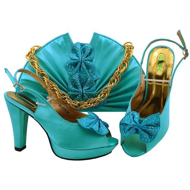 Mode femmes italiennes matures et nobles pompes de mariage avec sac nigérian correspondant chaussures et ensembles de sacs
