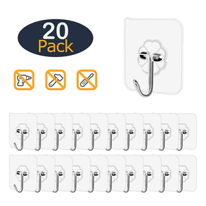 20Pcs Transparent Wall Hooks Waterproof Oilproof Self Adhesive Hooks Reusable Seamless Hanging Hook For Kitchen Bathroom Office