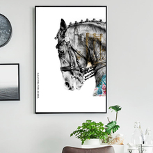 Horse Flower Animal Art Black Golden Colors and City Canvas Painting  Wall PrintsFor Living Room Posters Prints