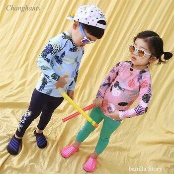 Traje de baño de dos piezas para niños 2-8 Y traje de surf de manga larga para niños