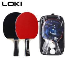 цена на 1set/2pcs ITTF LOKI C1000 Table Tennis Racket Set Training Pingpong Bat Ping Pong Racket with 2 pingpong Balls and racket Bag