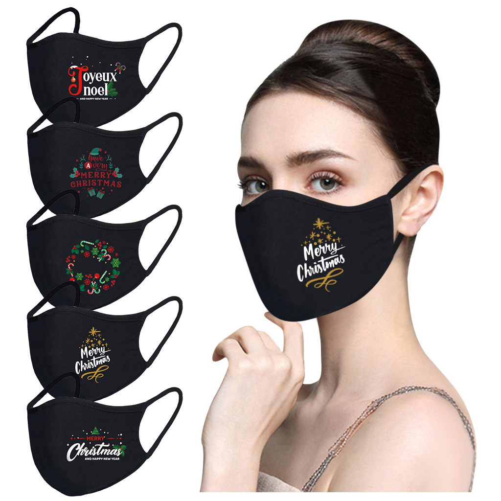 Halloween Decorations for Home 3-layer Breathable Cotton Mask Dust Mask Pure Black Blank Mask-0