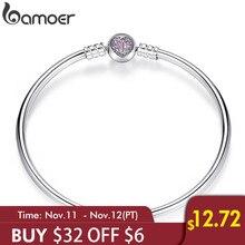 BAMOER authentique 100% 925 argent Sterling serpent chaîne coeur Bracelet & Bracelet bijoux de luxe PAS904