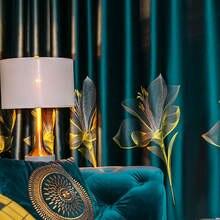 Шторы блэкаут атласные с вышивкой лилии зеленые прозрачные голубые