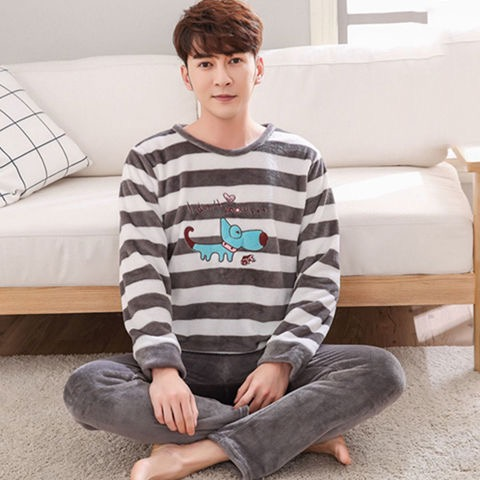 Men Pajamas Set  Winter Casual Striped Thick Warm Flannel Long Sleeve Sleepwear Suit For Male Loungewear Homewear Home Clothes