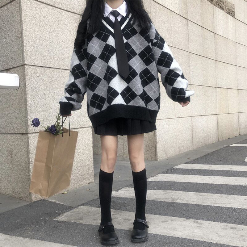 Autumn Winter Women Plaid Color Matching Loose Sweater Harajuku Style Girls Pullover V-neck Long Sleeve Knitten Tops Mori Girl