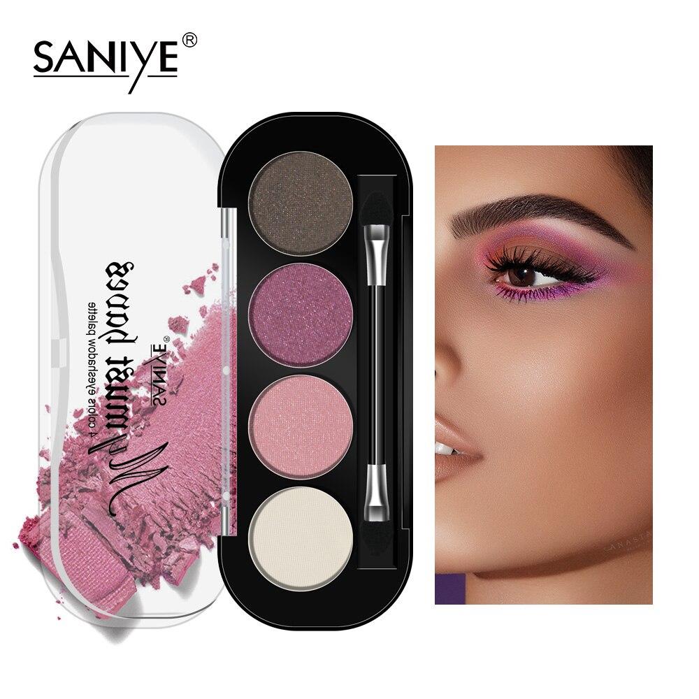 SANIYE 4 farbe Glitter Lidschatten-palette Mit Pinsel Anfänger Augen Make-Up sombras de ojos profesional Geschenk E0417