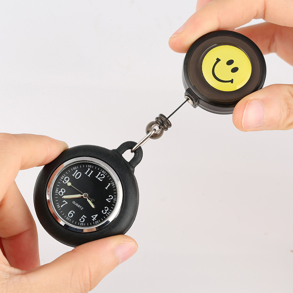 Classic Silicone Cover Pocket Watch for Nurse Docter Cute Yellow Smiling Pattern Pocket Watches Practical Luminous Pendant Watch