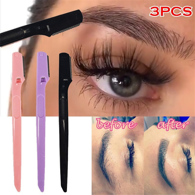 Portable Eyebrow Trimmer Hair Remover Set Eye Brow Shaver for Makeup Kit Stainless Steel Cutting Brow Shaver Cosmetics Tools