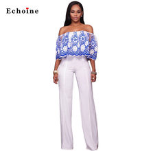 Women Sexy Jumpsuits Floral Lace Appliques Patchwork Long Wide Legs Pants Street Overalls Rompers Outwear Elegant Ladies Clothes(China)