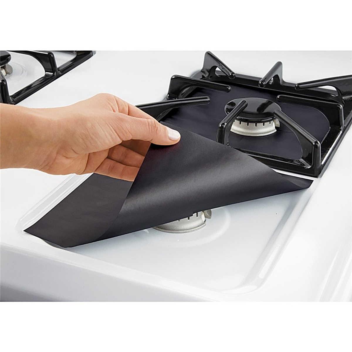 Hoomall, 2/4 Uds., protectores de horno a Gas de fibra de vidrio, quemador reutilizable, cubre fogón, alfombrilla antiadherente, utensilios de cocina para lavavajillas