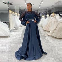 Темно синее вечернее платье verngo с длинным рукавом кружевное