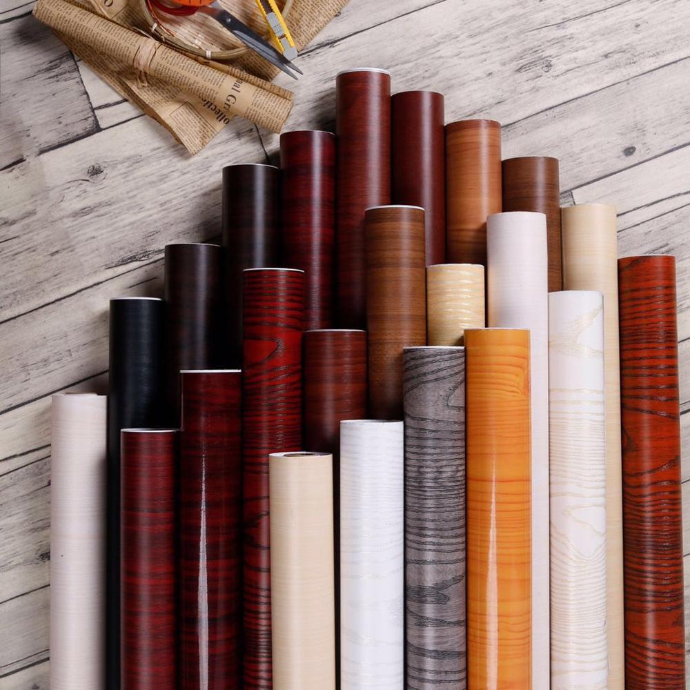Thick Wood Grain Self-adhesive Waterproof Pvc Wallpaper Boeing Film Wardrobe Desktop Furniture Renovation Wallpaper