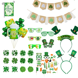 Irish Day Party Decortion for Celebrating St. Patricks Day Funny Creative Lucky Green Glasses Balloon Headband Decoration WQ07