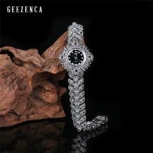 925 タイのシルバー幾何ブレスレット腕時計女性mentrendyヴィンテージ日本運動クォーツ時計ブレスレットファインジュエリー