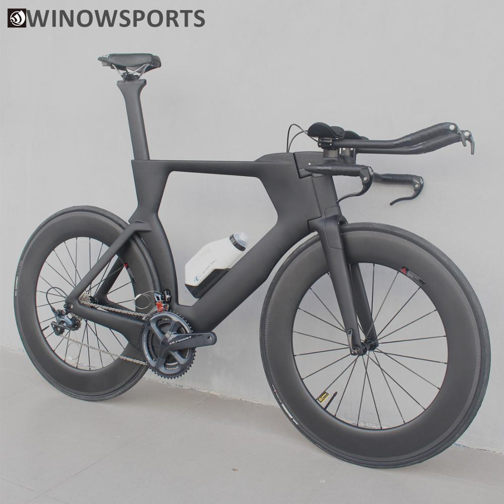 Winowsports 700C Complete <font><b>Bike</b></font> TT Bicycle Time Trial Triathlon Carbon Fiber Frame with R8000 Ultegra and Di2 R8060 groupset image