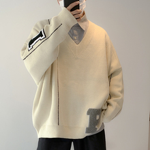 2020 Winter Men's Letter Print V Collar Woolen Sweater Leisure Loose Cashmere Knitting High-quality Coat White/black Pullover