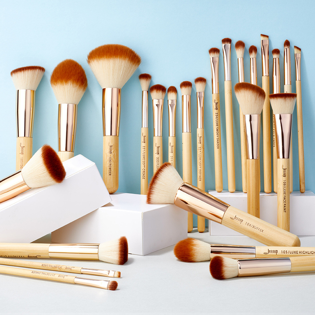 Jessup Makeup Brushes Set Bamboo Foundation Powder Eyeliner Bronzer Sculpting brush pincel maquiagem Professional Cosmetic Tool 5