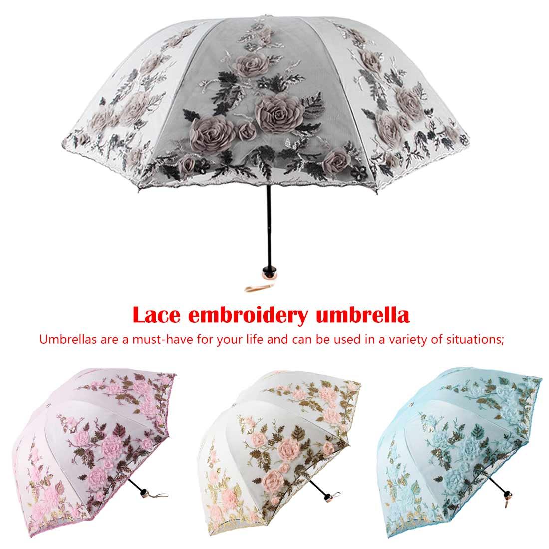 Lace Flower Folding Umbrellas For Women Folding UV Protection Rainy Umbrella Embroider Pink Flower Print Pocket Umbrella