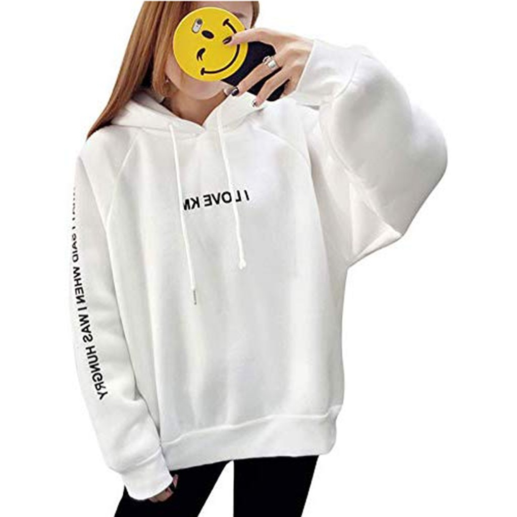 Korean Style Girls Drawstring Hooded Sweatshirts Women Harajuku Full Sleeve Letter Print Hooded Pullover Loose Thickened Hoodies