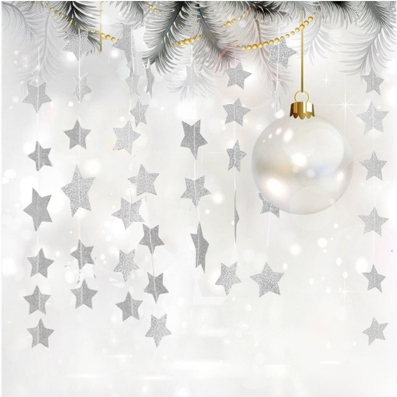 2M Wall Hanging Glitter Star Bunting Xmas Garland Party Kids Room Decoration