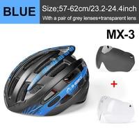 Blue 2 Lenses-INBIKE Cycling Helmet with Goggles Ultralight MTB Bike Helmet Men Women Mountain Road casco Sport Specialiced Bicycle Helmets