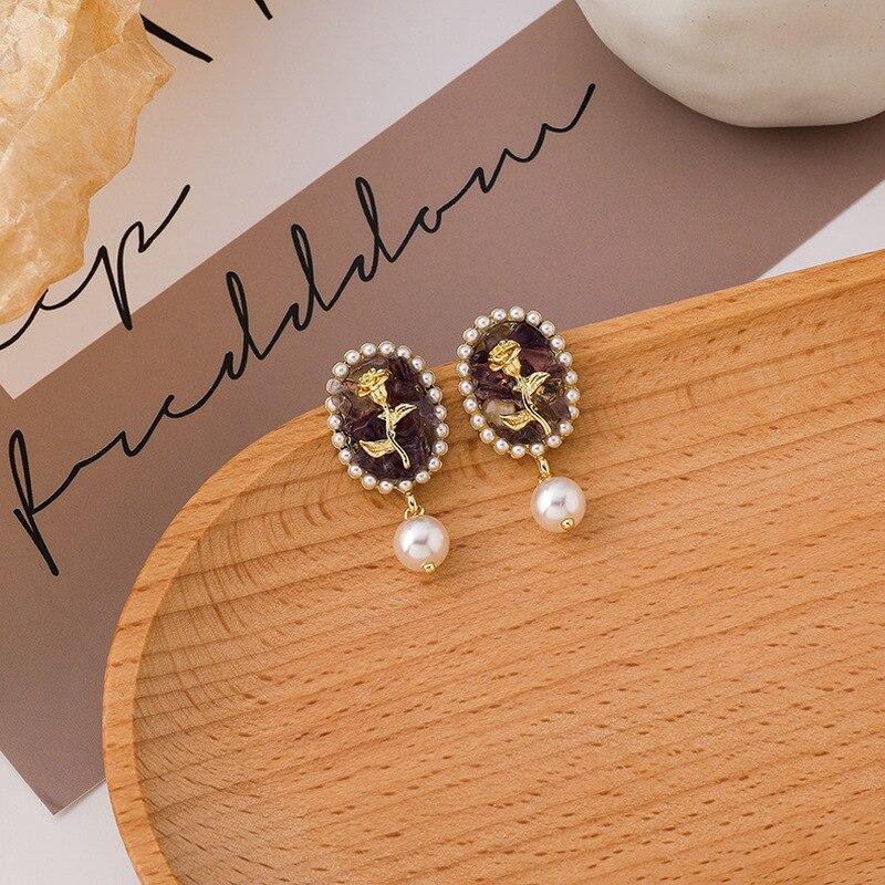 Minar barok elips kristal taş gül Dangle küpe kadınlar için Vintage Faux İnci düğün küpe Vintage takı