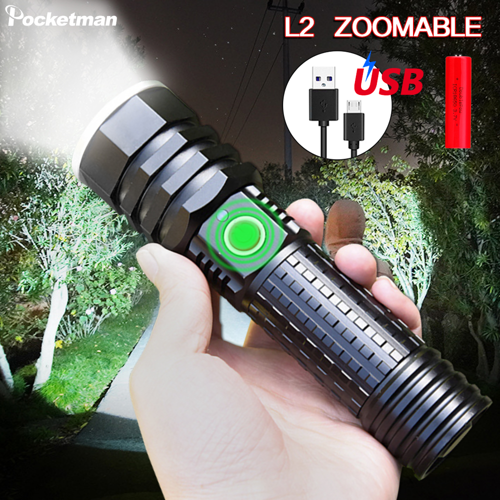 7000LM Super Bright Led Flashlight USB Rechargeable Flash Light Torch Zoomable Linterna Waterproof  Bicycle Light 18650 Or 26650