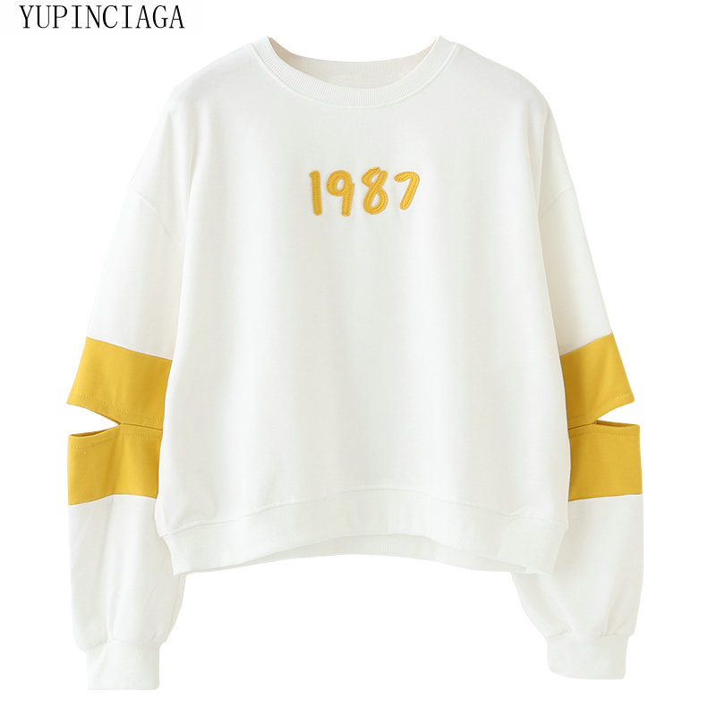 Japanese Mori Women's Simple Round Neck 1987 Long Sleeve Women Sweatshirt  Hit Color Pullover Femme Harajuku Hoodies YUPINCIAGA