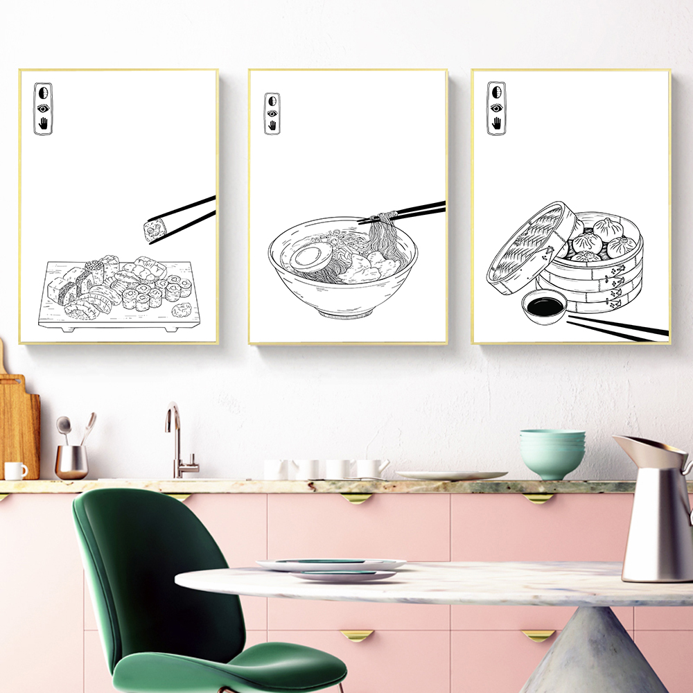 Japanese Food Wall Art Prints Dumplings Poster Kitchen Art Canvas Painting Pictures For Living Room Sushi Gift Home Decor