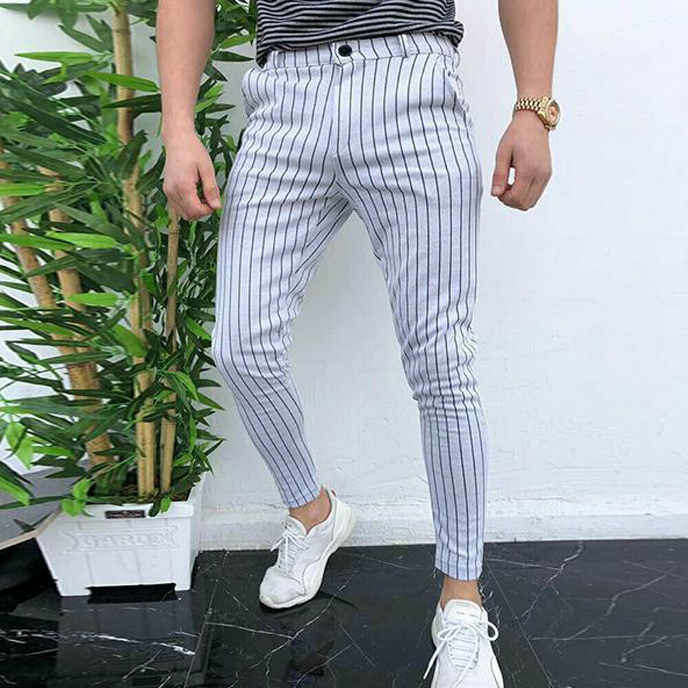 Fashion Men's Slim Fit Stripe Business Formal Pants Casual Office Skinny Long Straight Joggers Sweat Pants Trousers