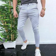 Fashion Men's Slim Fit Stripe Business Formal Pants Casual Office Skinny Long St